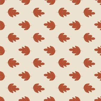 Modèle sans couture de chêne automne rétro sur fond clair. toile de fond de feuillage vintage.