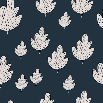 Modèle sans couture de chêne simple sur fond sombre. toile de fond de feuillage de style scandinave. fond d'écran nature simple. pour la conception de tissus, l'impression textile, l'emballage, la couverture. illustration vectorielle de griffonnage.