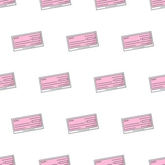 Modèle sans couture de chèque bancaire sur un fond blanc. illustration vectorielle de thème chèque en blanc