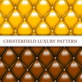 Modèle sans couture chesterfield élégant jaune et marron