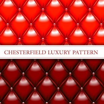 Modèle sans couture chesterfield élégant rouge et acajou