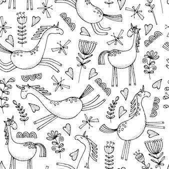 Modèle sans couture avec des chevaux de dessin animé dessinés à la main.