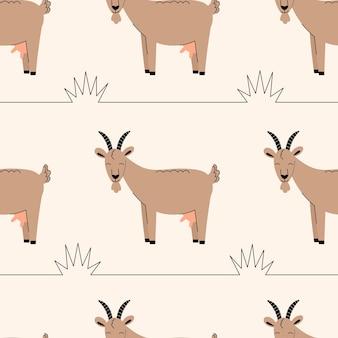 Modèle sans couture avec des chèvres mignonnes. fond avec des animaux de la ferme. papier peint, emballage. illustration vectorielle plane