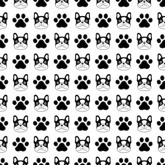 Modèle sans couture de chien bouledogue français empreinte de patte dessin animé