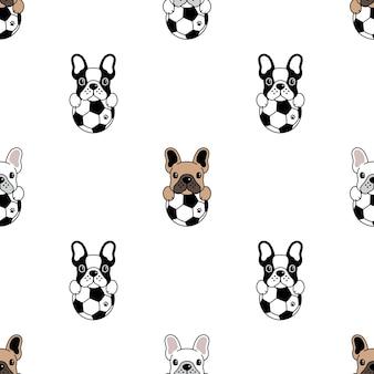 Modèle sans couture de chien bouledogue français football soccer