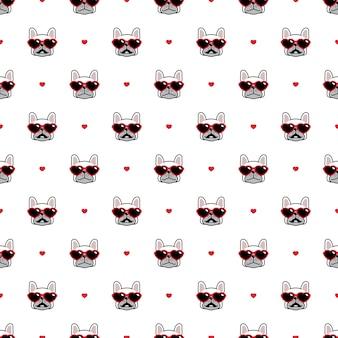 Modèle sans couture de chien bouledogue français lunettes de soleil coeur valentine illustration cartoon