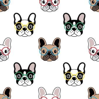 Modèle sans couture de chien bouledogue français lunettes