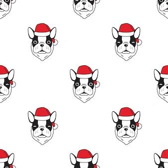 Modèle sans couture de chien bulldog français illustration de dessin animé de noël