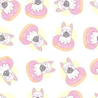 Modèle sans couture de chien bulldog français