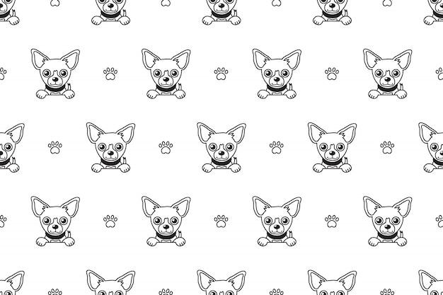 Modèle sans couture de chien chihuahua