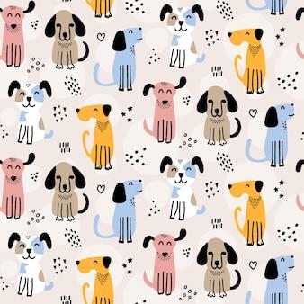 Modèle sans couture de chien mignon doodles