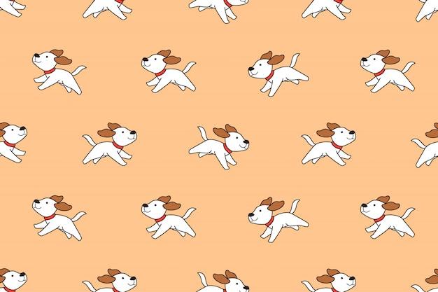 Modèle sans couture de chien mignon personnage de dessin animé