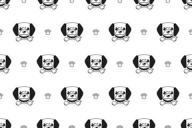 Modèle sans couture de chien mignon vecteur personnage de dessin animé