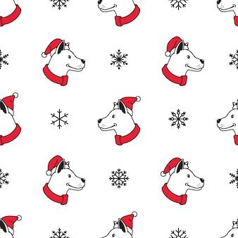 Modèle sans couture de chien noël père noël flocon de neige