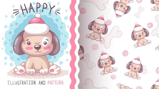 Modèle sans couture de chien en peluche heureux