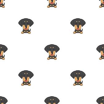 Modèle sans couture de chien teckel de personnage de dessin animé de vecteur