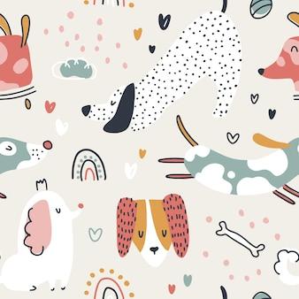 Modèle sans couture de chiens animaux mignons dans un style de dessin animé à la mode scandinave naïf simple dessiné à la main