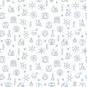 Modèle sans couture de chimie avec des icônes bleues chimiques