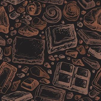 Modèle sans couture de chocolat. fond vintage d'art. croquis dessiné à la main
