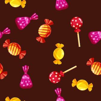 Modèle sans couture de chocolats colorés dans un pack, caramel, chocolat.