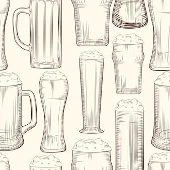 Modèle sans couture de chope de bière complète.