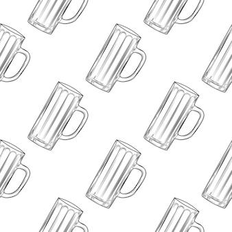 Modèle sans couture de chope de bière vide. verres à bière.