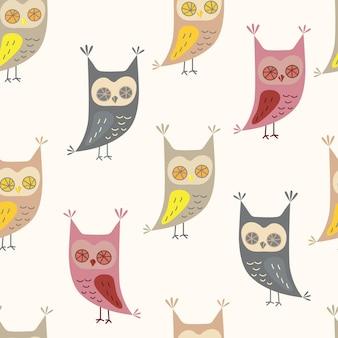 Modèle sans couture avec chouette mignon dans le style de dessin animé owl caractère vector illustration pour la conception d'impression