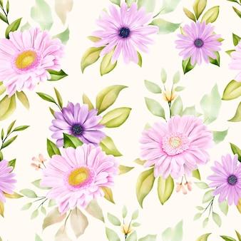 Modèle sans couture de chrysanthème aquarelle