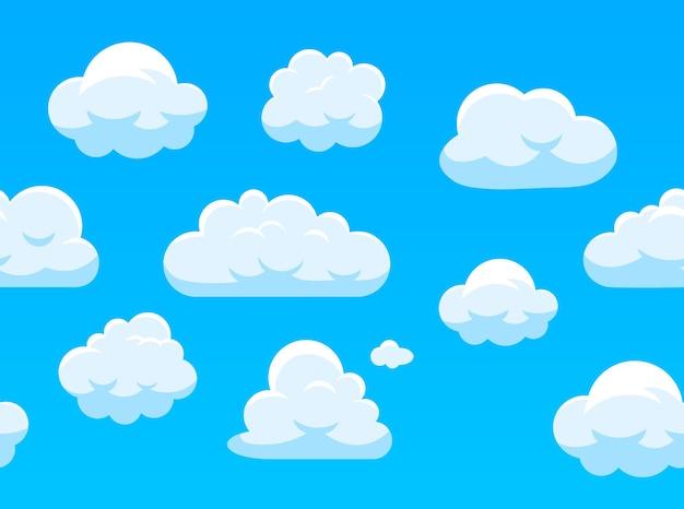 Modèle sans couture de ciel avec des nuages blancs.