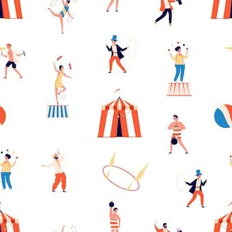 Modèle sans couture de cirque. spectacle de monstre. personnages de clown et de magicien, de jongleur et d'équilibreur et de gymnaste.