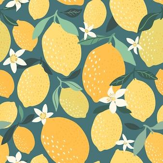 Modèle sans couture de citron décoratif avec des éléments dessinés à la main