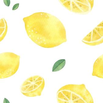 Modèle sans couture de citron dessinée à la main