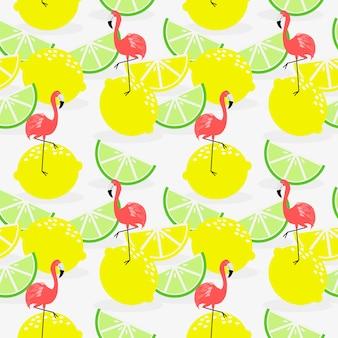 Modèle sans couture de citron et flamant d'été.