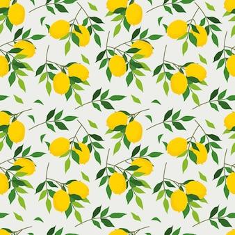 Modèle sans couture de citron frais d'été