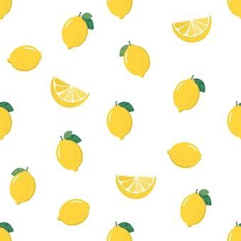 Modèle sans couture de citron jaune.