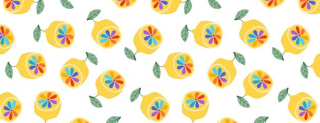 Modèle sans couture de citrons arc-en-ciel.