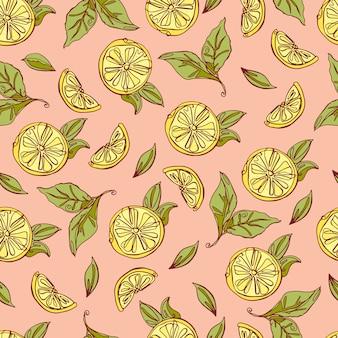 Modèle sans couture de citrons. dessiné à la main.