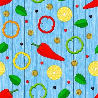 Modèle sans couture de citrons dessinés à la main, feuilles, poivre. fond de bois bleu.