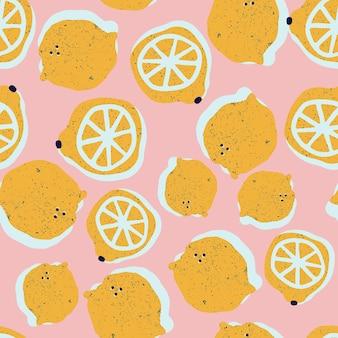Modèle sans couture de citrons dessinés à la main en vecteur