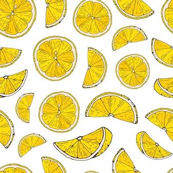 Modèle sans couture avec citrons dessinés à la main