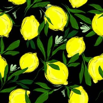 Modèle sans couture citrons avec des feuilles sur un fond noir.