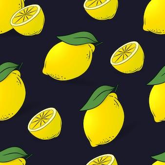 Modèle sans couture de citrons avec des feuilles