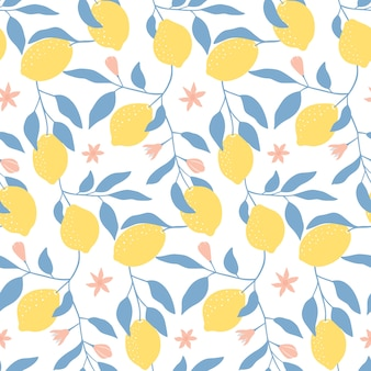 Modèle sans couture avec des citrons frais, des feuilles et des fleurs.