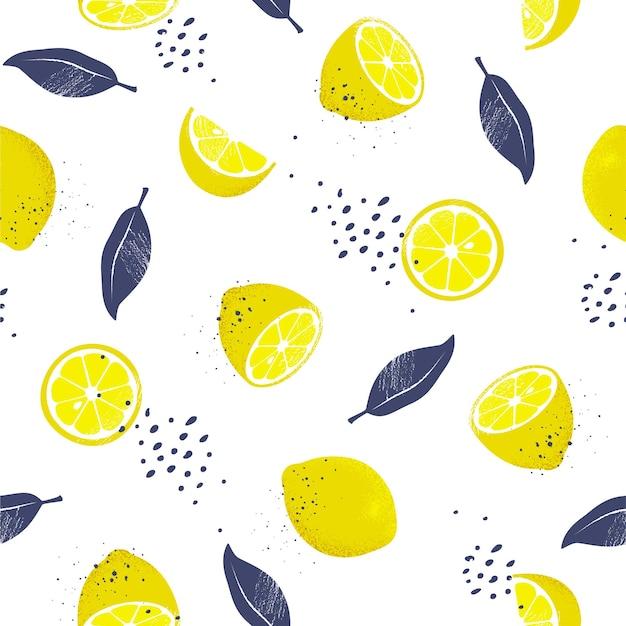 Modèle sans couture de citrons. illustration.