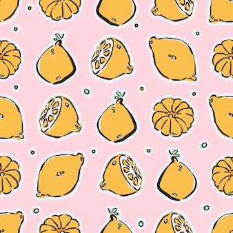 Modèle sans couture de citrons et mandarines dessinés à la main colorés