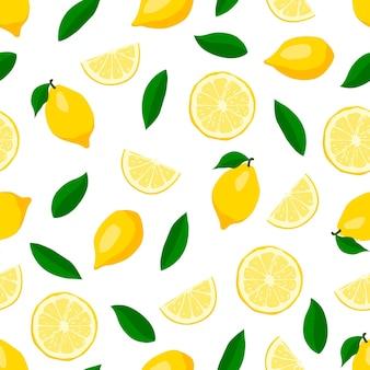 Modèle sans couture de citrons mignons.