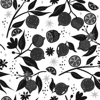 Modèle sans couture de citrons noirs et blancs.