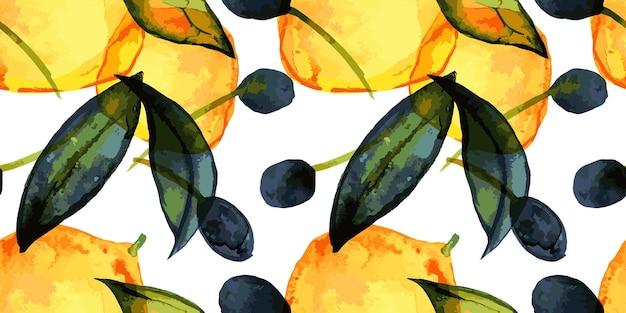 Modèle sans couture de citrons et d'olives avec aquarelle tracée