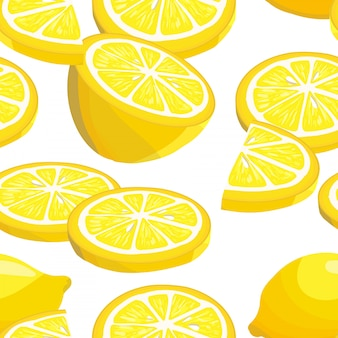 Modèle sans couture avec des citrons en tranches.