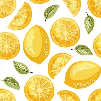 Modèle sans couture de citrons